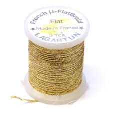 Плетена плоска нитка Lagartun Micro Flat Braid, золотий Голографик (HOLO MATT GOLD)