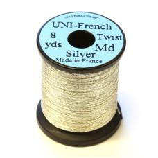 Витий тінсел UNI French Twist, середній срібний (MEDIUM SILVER)