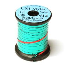 Пластиковий плоский тінсел UNI-Mylar, # 12 червоний / зелений (RED / GREEN 3/64)