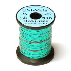 Пластиковий плоский тінсел UNI-Mylar, # 16 червоний / зелений (RED / GREEN 1/69)