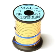 Пластиковий плоский тінсел UNI-Mylar, # 12 мідний / синій (COPPER / BLUE 3/64)