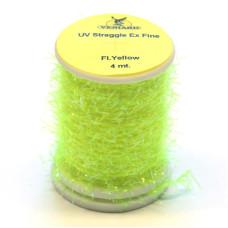 Синель з УФ-блиском Veniard UV Straggle Chenille Ex Fine, тонка флуо-жовта (Fl Yellow)