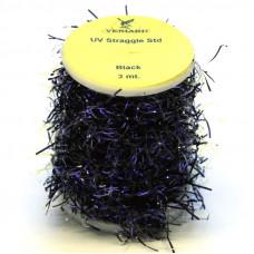 Синель з УФ-блиском Veniard UV Straggle Chenille Standard, стандартна чорна (Black)
